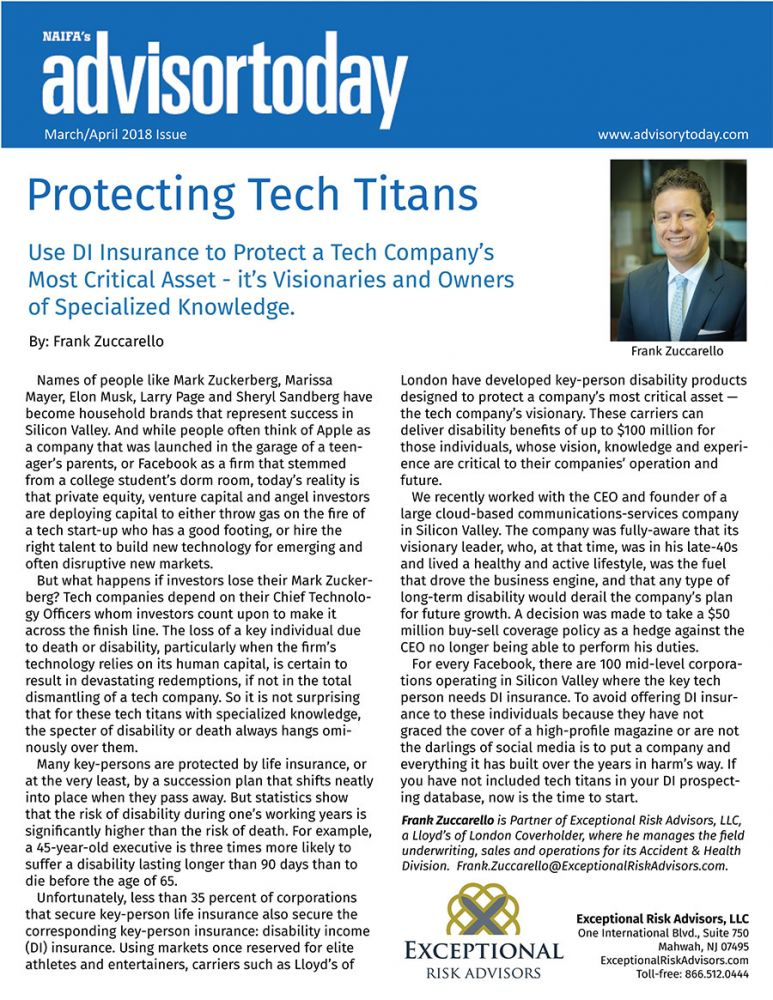 DI Insurance to protect a tech company visionary owners